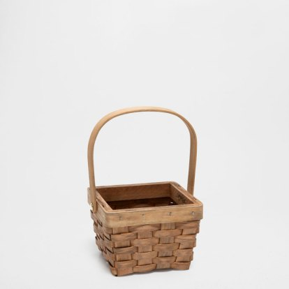 Wooden Basket With Handles