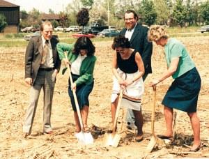 Dr. Bob Stoneburner, Dr. Lynne Rocklage, Dr. Barbara Cordoni, Dr. Tim Teska, and Carol Brehm at the Brehm groundbreaking Ceremony on May 11, 1982