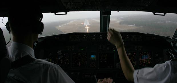 Bei der Landung in Berlin war ich im Cockpit mit dabei.