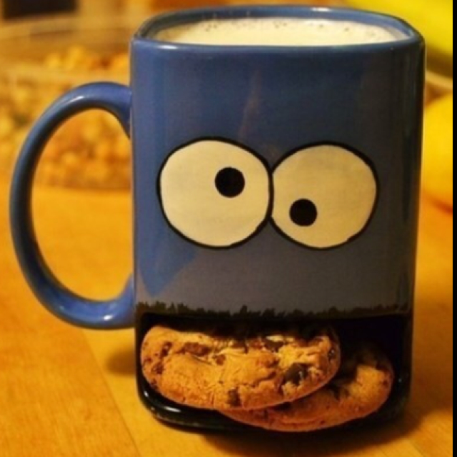 Cookie Monster Mug with Cookies