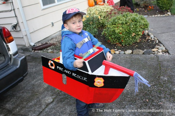 Ethan's Fire Rescue Boat Halloween Costume (2011)