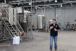 Mornington Brewery GM, Matt Bebe, in the new brewhouse.