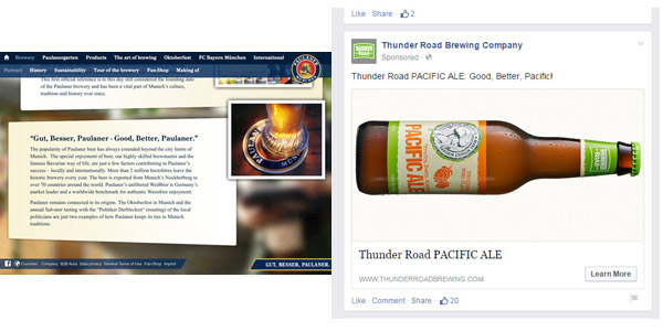 Thunder Road Brewing Company has adopted a slogan for its Pacific Ale similar to one used by German brewery Paulaner.