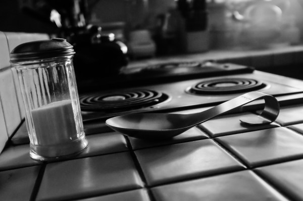 kitchen counter in black and white