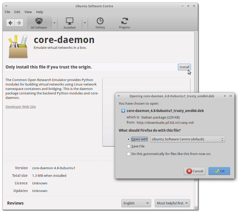 Example of installing a .deb package with Ubuntu Software Centre