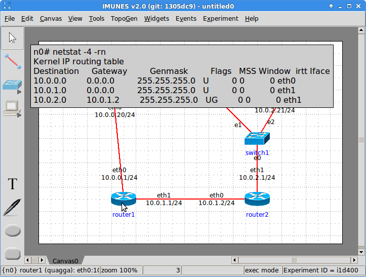 Routing table widget