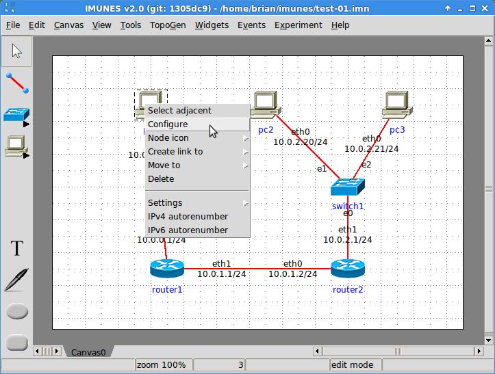 Configure network node
