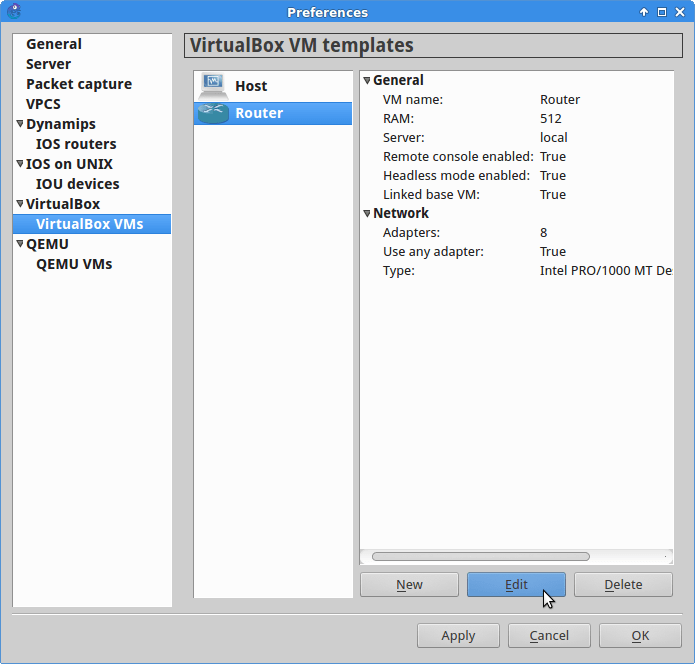 Edit VM preferences