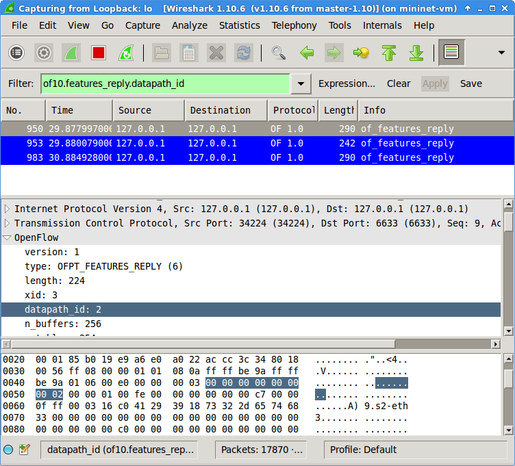 Feature request messages show switch name and TCP port in the same packet