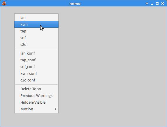 Cloonix graph GUI and menu