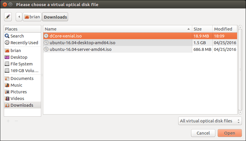 Select dCore ISO file