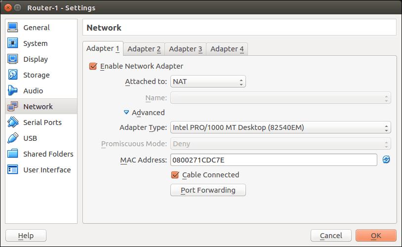 Advanced settings: Click on Port Forwarding