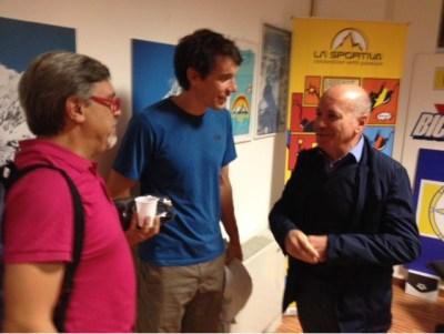Alex Honnold con il padrone di casa Sergio Longoni (a destra)