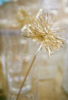Gold or Silver Tinsel Drink Stirrers or Cake Toppers