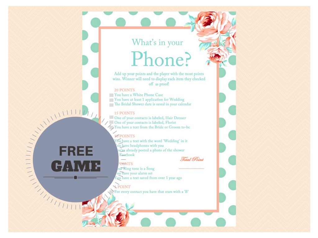 photograph relating to What's in Your Phone Game Free Printable called Bridal Shower Online games and Things to do - Bridal Shower Strategies