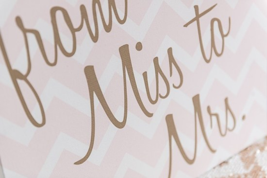 Pink, Mint and Gold Bridal Shower ideas, from miss to mrs sign