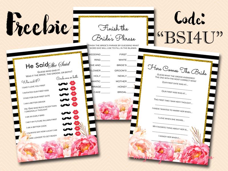 free bridal shower game black stripes peonies bridal shower game pack bs115