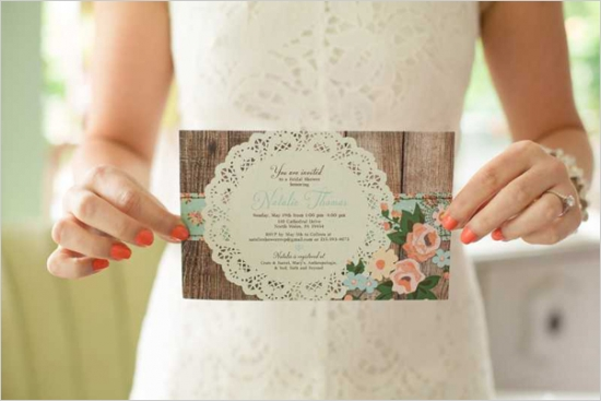 mint and peach vintage bridal shower - bridal shower ideas - themes, Wedding invitations