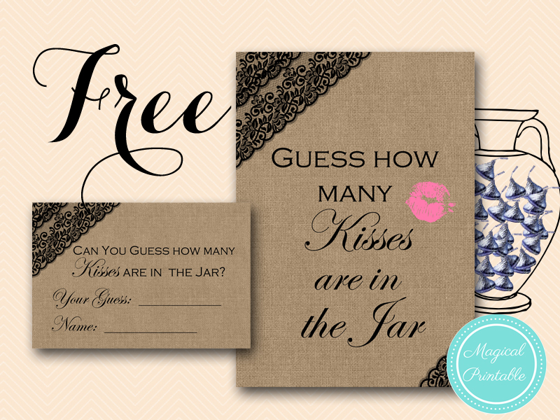 guess who bridal shower game printable%0A guess who bridal shower game printable Free Black Lace Burlap How Many  Kisses in the Jar