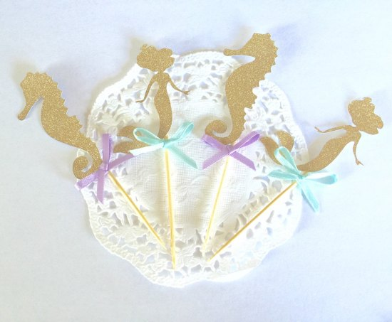 mermaid bridal shower decoration toppers, sea horse