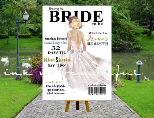 Bridal MAGAZINE Welcome Poster Fashion Bridal Shower Decorations