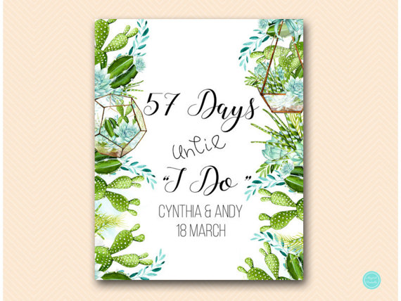 succulent-bridal-shower-wedding countdown sign