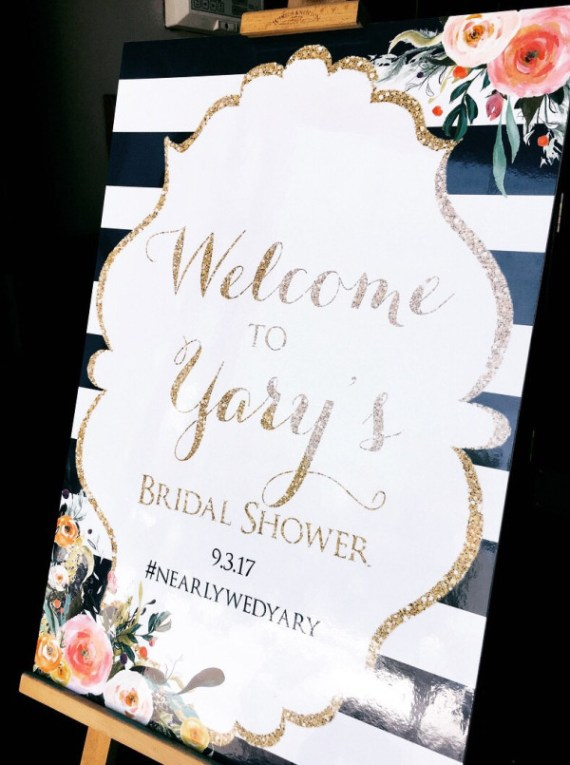 floral-gold-glitter-bridal-shower-welcome-sign
