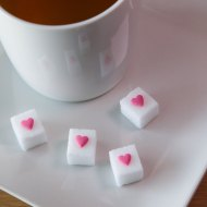 tea party bridal shower Pink Heart Sugar Cubes