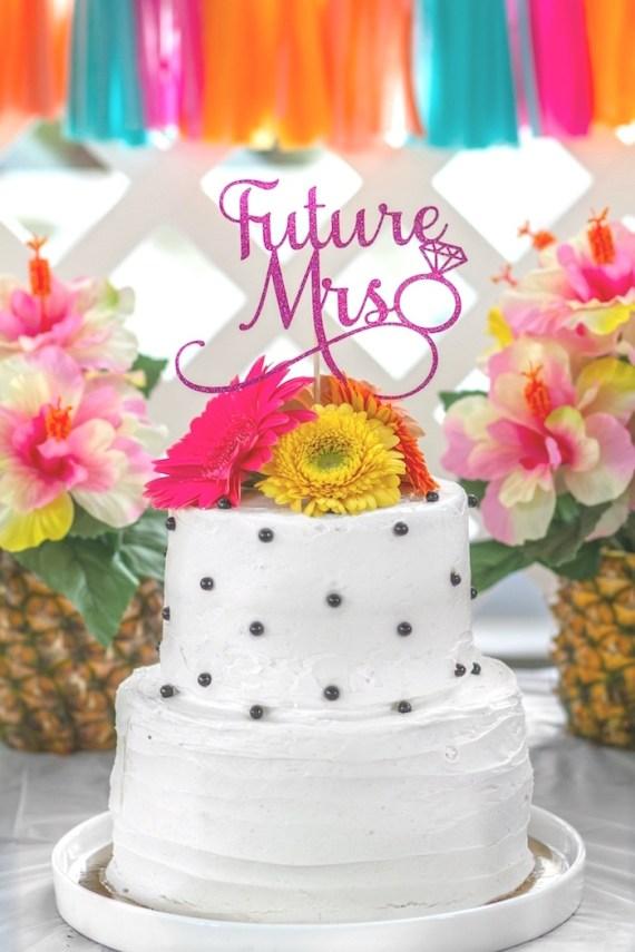 Pink-Tropical-Bridal-Shower-Cake-Polkadots