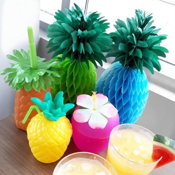 Pink-Tropical-Bridal-Shower-Pineapple-Decor
