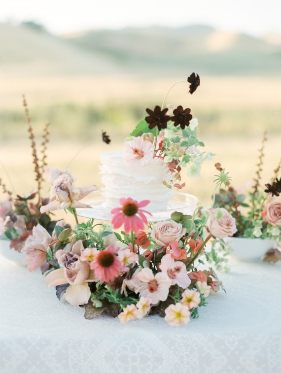 Dreamy Outdoor Bridal Shower cake centerpiece