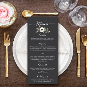Elegant White Floral Printable Wedding Menu, Custom Wedding Menu Printable wd13