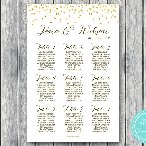 Gold Glitter Wedding Seating Chart  Free Wedding Seating Charts