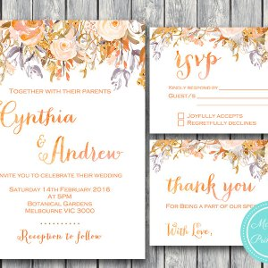 Custom Sunset Floral Wedding Invitation Set-RSVP-Thank you-Printable Invitation