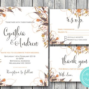Custom Wild Vintage Fall Floral Wedding Invitation Set-RSVP-Thank you-Printable Invitation