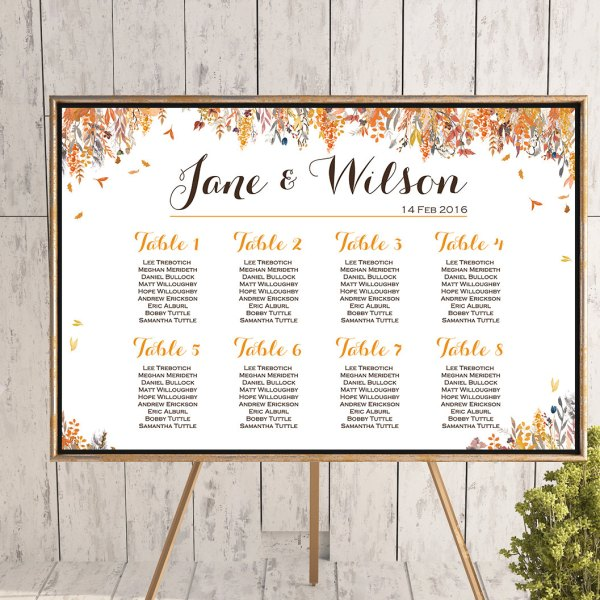 Fall autumn wedding seating chart free wedding seating charts personalized fall autumn find your seat chart printable wedding seating chart junglespirit Image collections