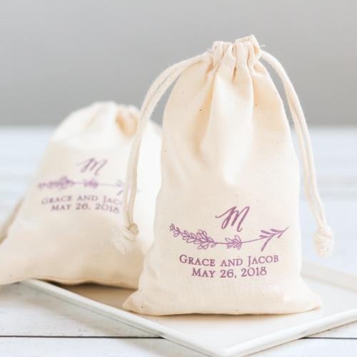 Lavender-Wedding-Ideas-Natural Cotton Wedding Favor Bag