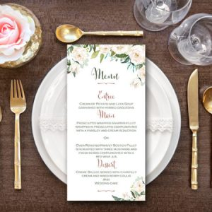White Flower Printable Wedding Menu