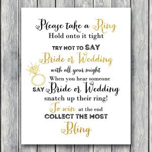 Don't Say Bride or Wedding Game Bridal shower game, Bridal shower activity, Printable Game TH14