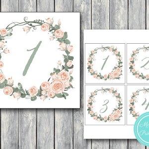 Wedding Table Numbers Printable, DIY Table Number Sign