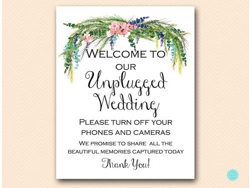 sign-unplugged-wedding--spring-wedding-sign-luau-decor 5