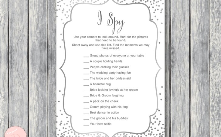 silver wedding game  I-Spy game