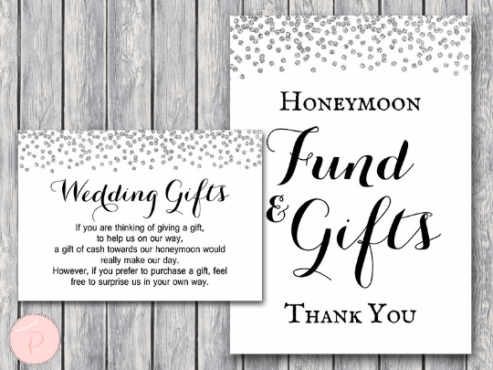 Silver Confetti Honeymoon Fund Card and Sign Wedding Gift
