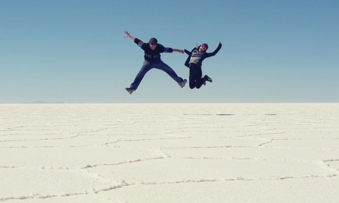 Flying at the Salt Flats, Bolivia