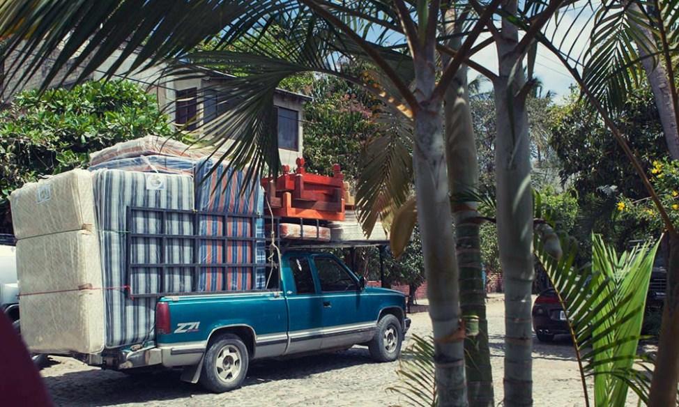 Mattress seller van in San Pancho, Mexico