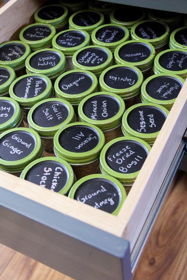 Spices organized in Mason Jars