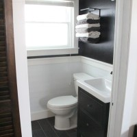 Black and Planked Bathroom Walls