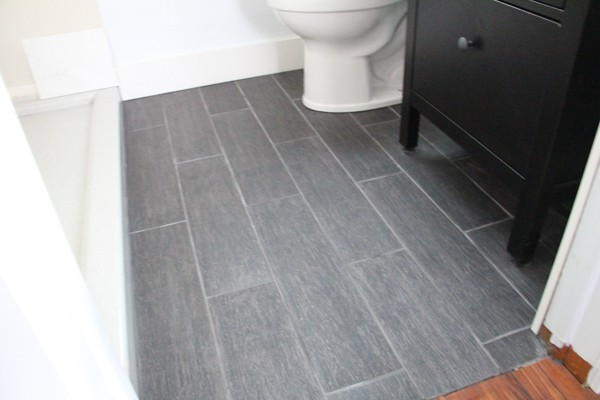 Dark Gray Plank Tile Bathroom