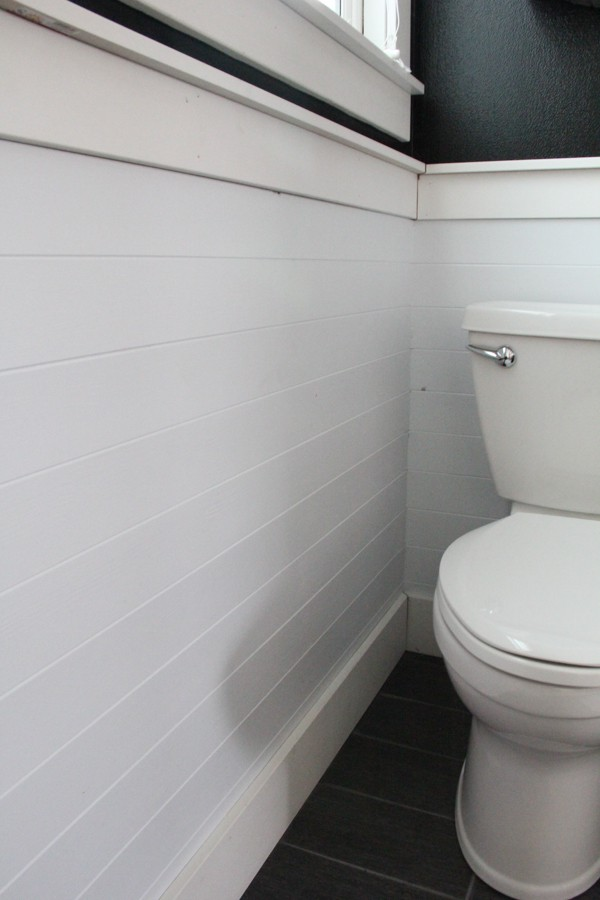 White Horizonal Planked Walls in Bathroom