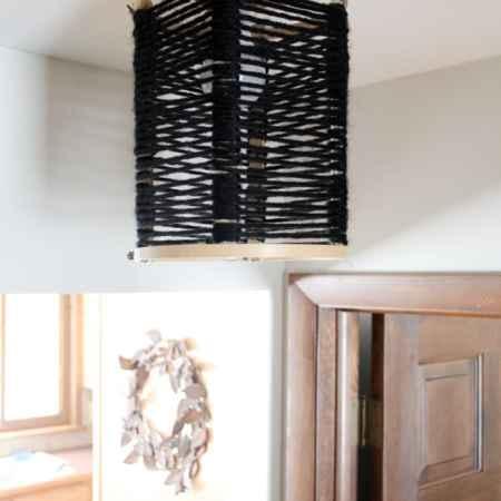 Wood and Yarn Light Fixture
